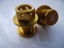 "Magnetic CNC gold sump plug Oil Drain Bolt ""Lockwire drilled"" M14x1.25 suzuki"